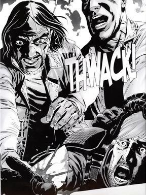 A photo from The Walking Dead comic book series that shows Rick Grimes losing his hand. The development occured in Issue 28 of the popular series.